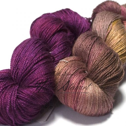 Set of 2 - Variegated Baby Camel / Silk and Complimentary Solid Color Yarn