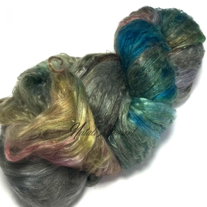 27gr Mulberry Fibre Silk Top Brick Hand Dyed in Variegated Colors MSB15