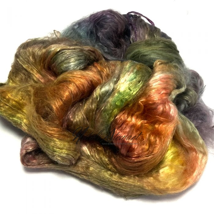 27gr Mulberry Fibre Silk Top Brick Hand Dyed in Variegated Colors MSB16