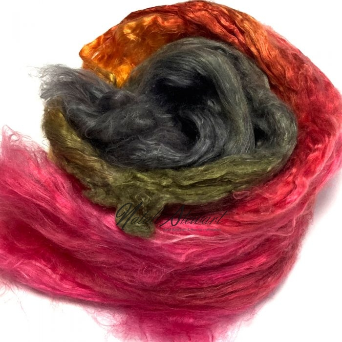 31gr Mulberry Fibre Silk Top Brick Hand Dyed in Variegated Colors MSB01