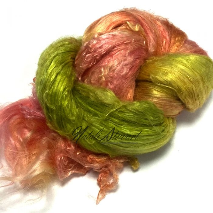 31gr Mulberry Fibre Silk Top Brick Hand Dyed in Variegated Colors MSB22