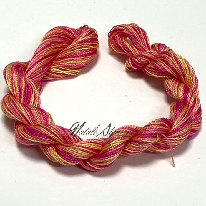 SPJ03 Very Fine Embroidery Silk Thread Single 50 Meters Winded on Card Variegated Colors