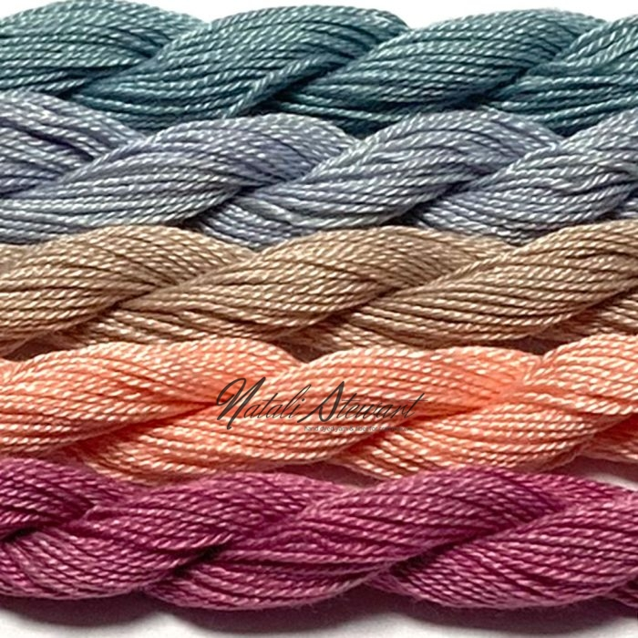 Fine Twist Mulberry Silk Embroidery Threads Pack 5 Mini Skeins 30 Metres Each Hand Dyed in Solid Colors FES24