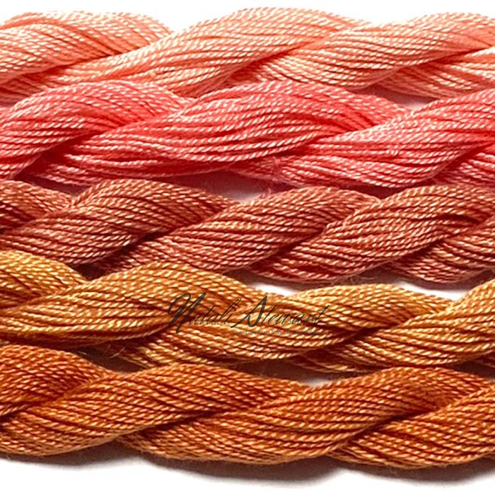 Fine Twist Mulberry Silk Embroidery Threads Pack 5 Mini Skeins 30 Metres Each Hand Dyed in Solid Colors FES25