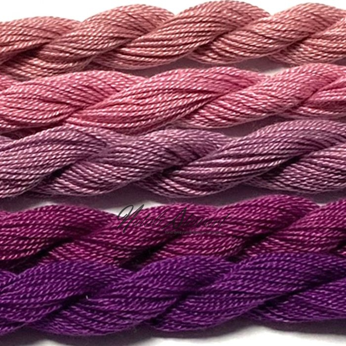 Fine Twist Mulberry Silk Embroidery Threads Pack 5 Mini Skeins 30 Metres Each Hand Dyed in Solid Colors FES31