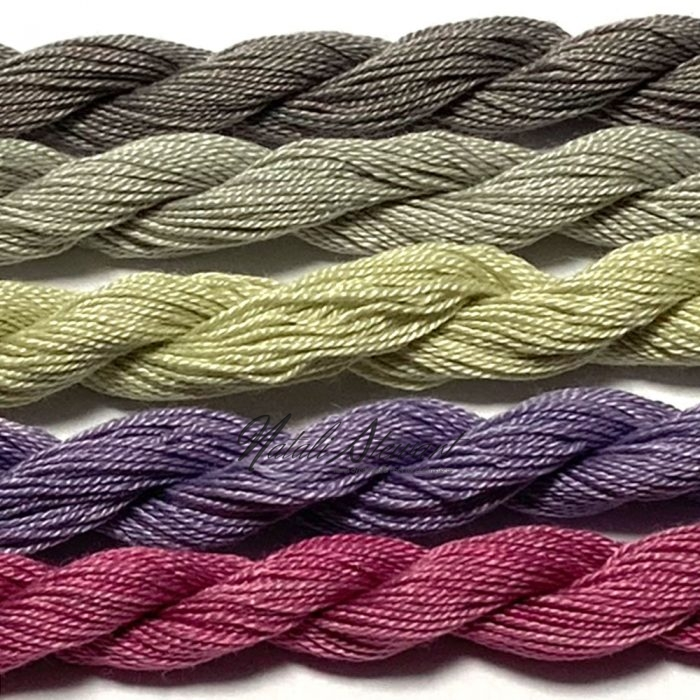 Fine Twist Mulberry Silk Embroidery Threads Pack 5 Mini Skeins 30 Metres Each Hand Dyed in Solid Colors FES32