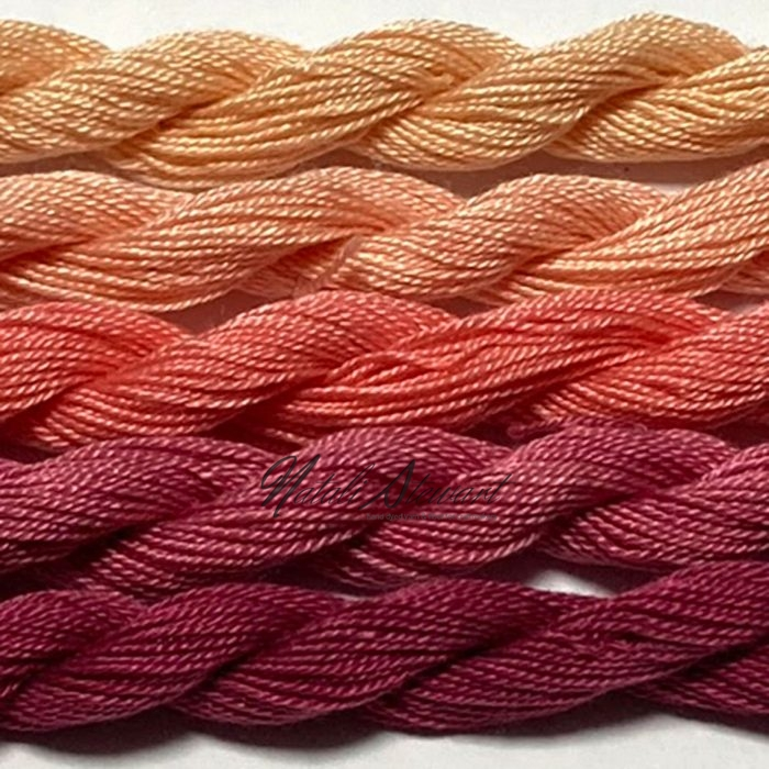 Fine Twist Mulberry Silk Embroidery Threads Pack 5 Mini Skeins 30 Metres Each Hand Dyed in Solid Colors FES35