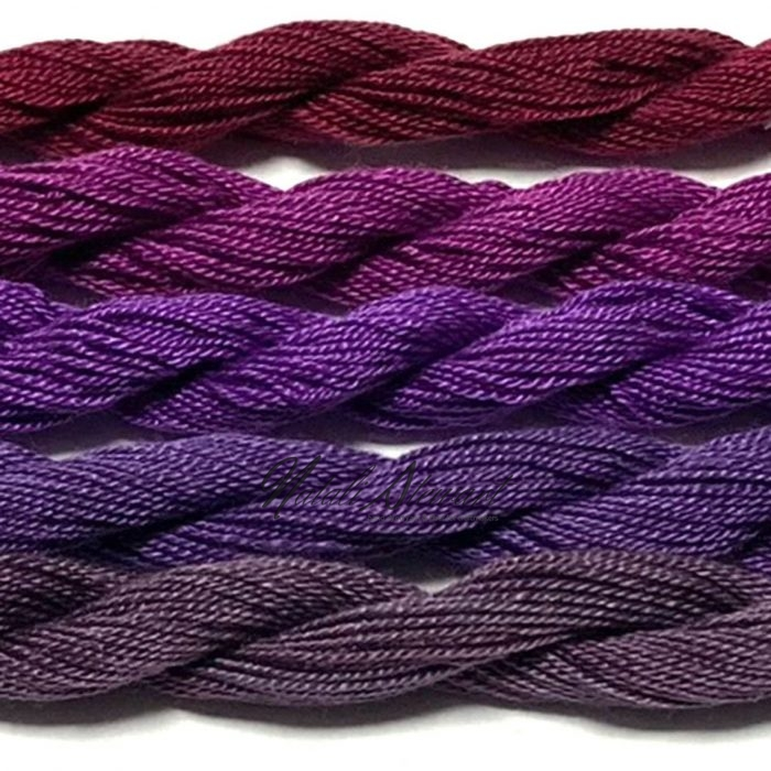 Fine Twist Mulberry Silk Embroidery Threads Pack 5 Mini Skeins 30 Metres Each Hand Dyed in Solid Colors FES37
