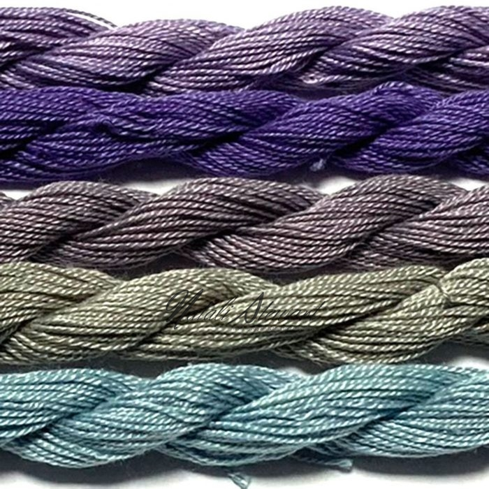 Fine Twist Mulberry Silk Embroidery Threads Pack 5 Mini Skeins 30 Metres Each Hand Dyed in Solid Colors FES40