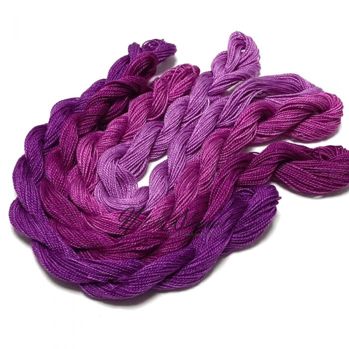 Fine Twist Mulberry Silk Embroidery Threads Pack 4 Mini Skeins 30 Metres Each Hand Dyed in Solid Colors FES06