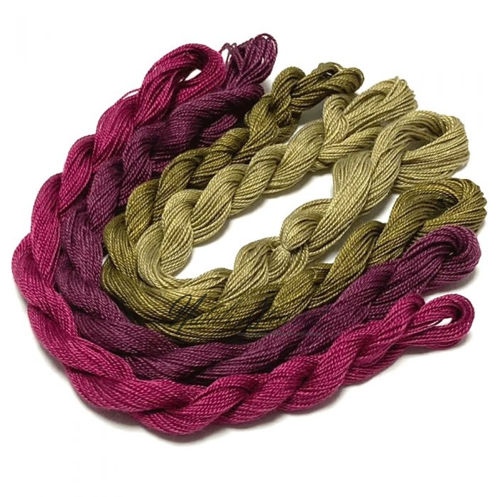 Fine Twist Mulberry Silk Embroidery Threads Pack 4 Mini Skeins 30 Metres Each Hand Dyed in Solid Colors FES20