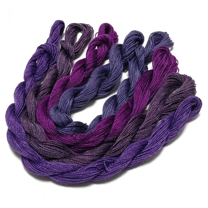 Fine Twist Mulberry Silk Embroidery Threads Pack 4 Mini Skeins 30 Metres Each Hand Dyed in Solid Colors FES21