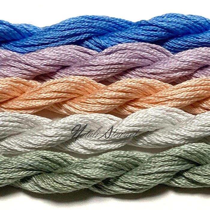 Hand dyed cotton embroidery floss mouline cotton stranded cotton floss embroidery thread MSC08 5 Skeins 10 Meters