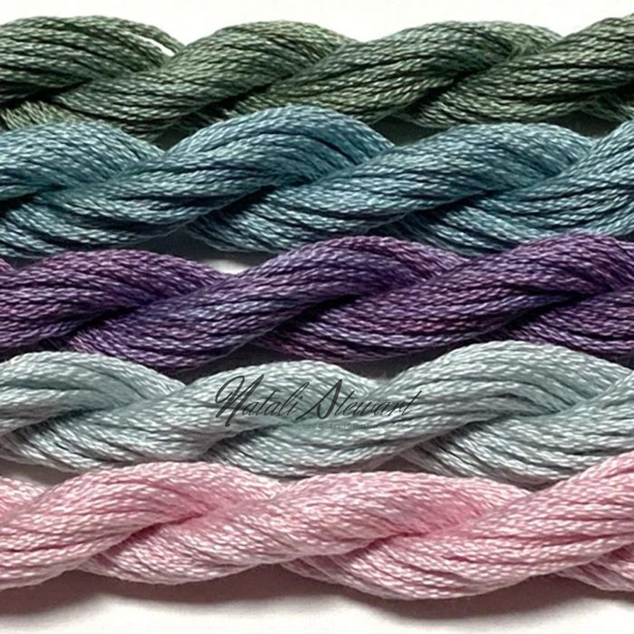 Hand dyed cotton embroidery floss mouline cotton stranded cotton floss embroidery thread MSC12 5 Skeins 10 Meters
